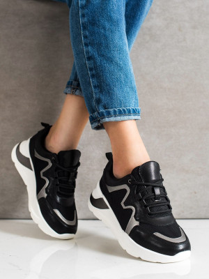 Praktické dámské  tenisky černé bez podpatku