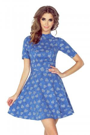 Dámské šaty v džínové barvě se srdíčky a s polorolákem a krátkými rukávy MM 011-1