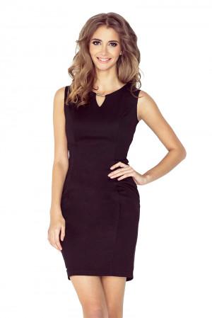 Elegantní černé dámské šaty s přezkou MM 005-3