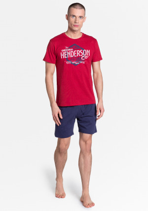 Pánské pyžamo 38869 Lars - Henderson červená-modrá