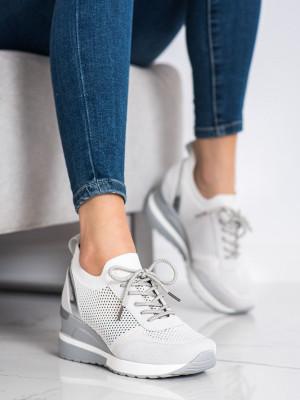 Trendy  tenisky šedo-stříbrné dámské na klínku