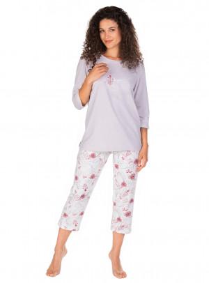 Dámské pyžamo Lama L-1387 PY 3/4 S-4XL mocca-okrová