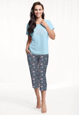 Dámské pyžamo Luna 568 kr/r 4XL modrá 4XL