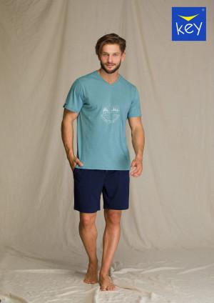 Pánské pyžamo Key MNS 073 A21 M-2XL zelená-tm.modrá