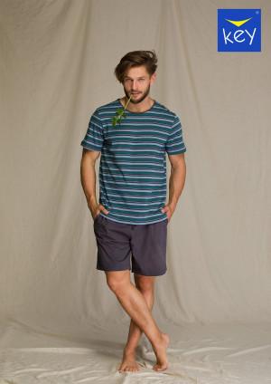 Pánské pyžamo Key MNS 351 2 A21 3-4XL šedá-pruhy 3XL