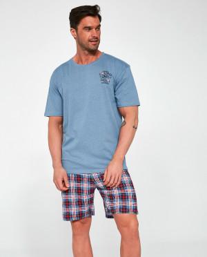 Pánské pyžamo Cornette 326/106 Ontario kr/r S-2XL modrá žíhaná