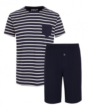 Pánské pyžamo 500007 -Jockey tm.modrá s proužky