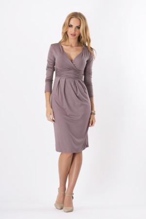 Dámské šaty značkové s 3/4 rukávem vhodné i pro těhotné capuccino - Hnědá / XL - BeYou hnědá