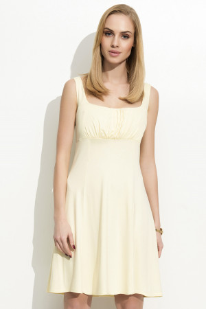 Dámské šaty na ramínka zdobené řasením žluté - Žlutá / S - Folly žlutá