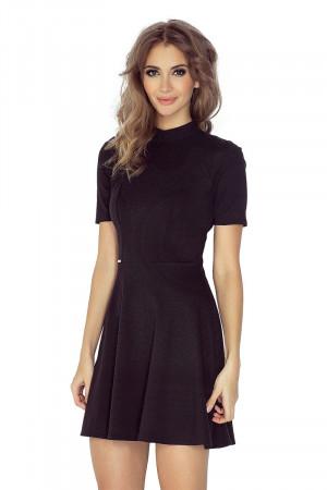 Dámské šaty s rolákem a krátkým rukávem krátké černé - Černá / L - Morimia černá