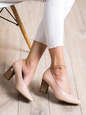 Klasické růžové  lodičky dámské na širokém podpatku