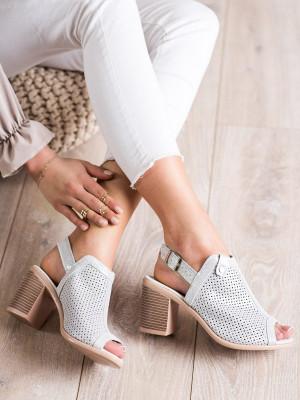 Designové dámské  sandály šedo-stříbrné na širokém podpatku