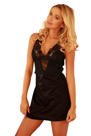 Saténová noční košilka Merida černá černá