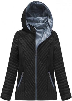 Černá prošívaná bunda s kapucí (XB1501X) černá XXL (44)