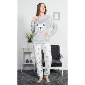 Dámské pyžamo dlouhé Koala - Vienetta šedá