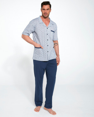 Pánské rozepínací pyžamo Cornette 318/40 k/r S-2XL tmavě modrá