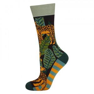 Pánské ponožky SOXO GOOD STUFF - Gepardi zelená/oranžová 40–45
