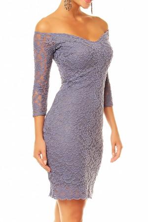 Dámské společenské šaty MAYAADI krajkové s 3/4 rukávem krátké šedé - Šedá / XL - MAYAADI tmavě šedá
