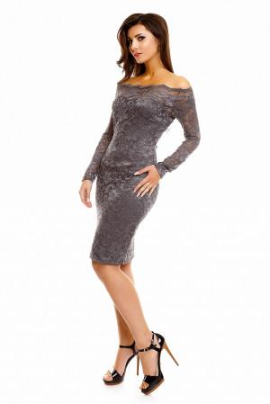 Dámské společenské šaty MAYAADI krajkové s dlouhým rukávem krátké tmavě šedé - Šedá / XL - MAYAADI tmavě šedá