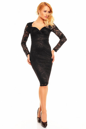 Společenské a plesové šaty MAYAADI Deluxe krajkové středně dlouhé černé - Černá / S - MAYAADI