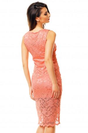 Společenské a plesové šaty  MAYAADI krajkové s asymetrickou sukní lososové - Růžová / XL - MAYAADI lososová