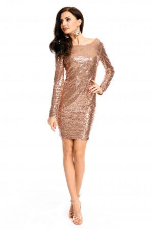 Společenské šaty MAYAADI flitrové s dlouhým rukávem krátké bronzové - Hnědá / XL - MAYAADI bronze