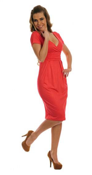 Dámské šaty s výstřihem a krátkým rukávem dlouhé - Červená / S - Lemoniade