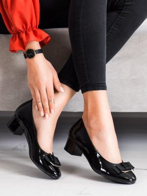 Módní  lodičky dámské černé na širokém podpatku
