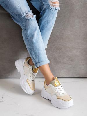 Trendy dámské zlaté  tenisky bez podpatku
