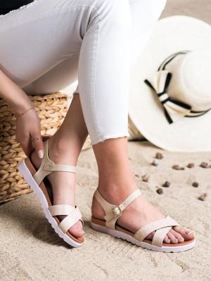 Pohodlné dámské  sandály hnědé bez podpatku
