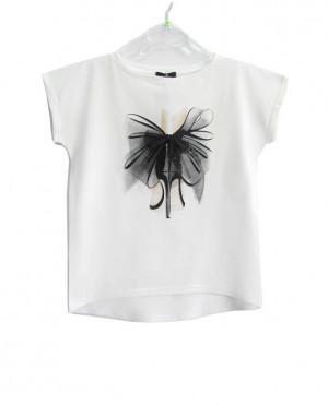 Dámské tričko AJS 9002 Mašle černá
