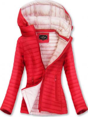 Červená prošívaná bunda s kapucí (7218BIG) červená