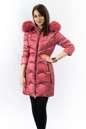 Dámská prošívaná zimní bunda s kapucí C918 - SHOUGE staro-růžová