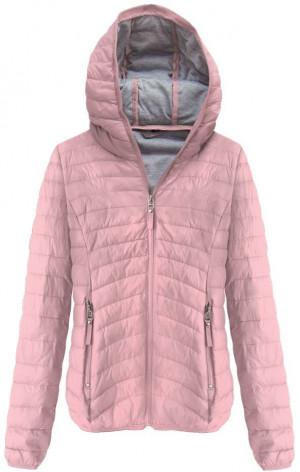Prošívaná bunda ve starorůžové barvě s kapucí (B1078) růžová M (38)