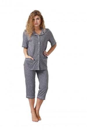 Dámské pyžamo HALIMA 1041 šedá perla 2XL