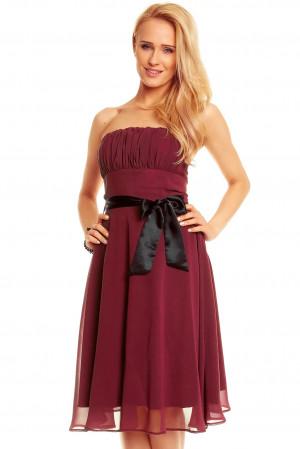 Dámské společenské šaty korzetové s mašlí a šifonovou sukní bordó - Bordó - MAYAADI