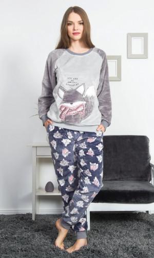 Dámské pyžamo dlouhé Liška - Vienetta šedá