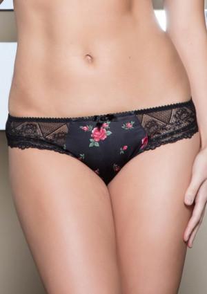 Dámské kalhotky Parfait 2803 Casey Rose Print XS Černá