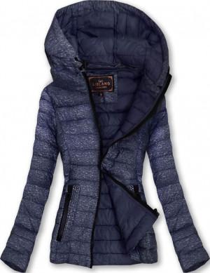 Tmavě modrá prošívaná bunda s kapucí (7211) tmavěmodrá S (36)