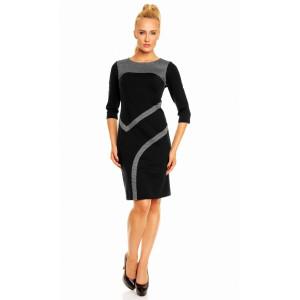 Dámské luxusní společenské a casual šaty zdobené pepitovým vzorem černé - Černá - Lental černá