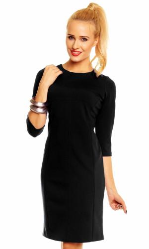 Společenské šaty WIKTORIA zdobené ve výstřihu středně dlouhé černé - Černá - Lental černá