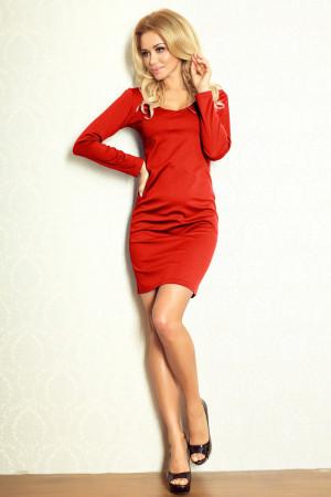 Dámské šaty NUMOCO jednoduché s dlouhým rukávem viskózové krátké měď - Červená - Numoco měděná