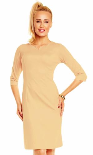 Dámské značkové šaty LENTAL DANUTA s 3/4 rukávem středně dlouhé béžové - Béžová - Lental béžová