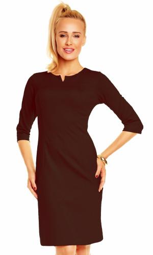 Dámské značkové šaty LENTAL DANUTA s 3/4 rukávem středně dlouhé hnědé - Hnědá - Lental tm.hnědá (caffe)