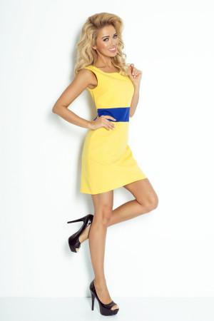 Dámské šaty BEE s modrým pruhem v pase krátké žluté - Žlutá - Numoco žlutá