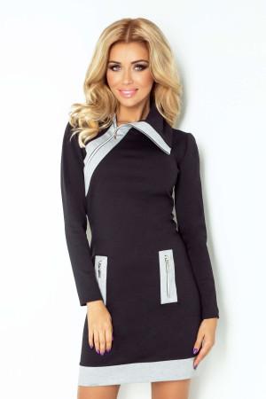 Dámské šaty značkové ZIPPY moderní se třemi zipy černé - Černá - Numoco černá-šedá