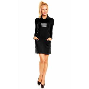 Dámské luxusní společenské a casual šaty zdobené doplňky z eko-kůže černé - Černá / L - Lental černá