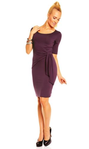 Dámské šaty LEA s řasením a vázáním na boku středně dlouhé lila - Fialová / M - Lental tmavě fialová