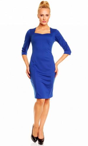 Společenské a casual šaty DIANA středně dlouhé modré - Modrá / M/L - Lental královská modř
