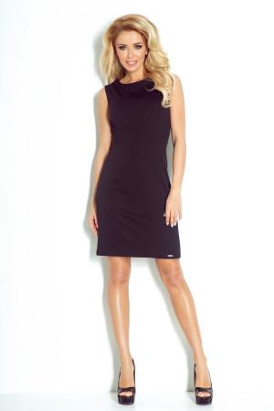 Dámské společenské šaty značkové vypasované bez rukávu krátké černé - Černá / XL - Numoco černá